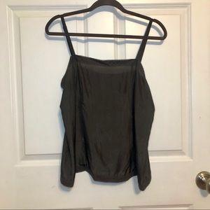 Eileen Fisher 100% Silk Charcoal Gray Tank Top